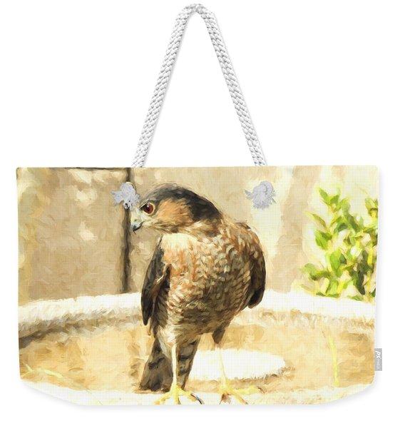 Cooper's Hawk At The Birdbath Weekender Tote Bag