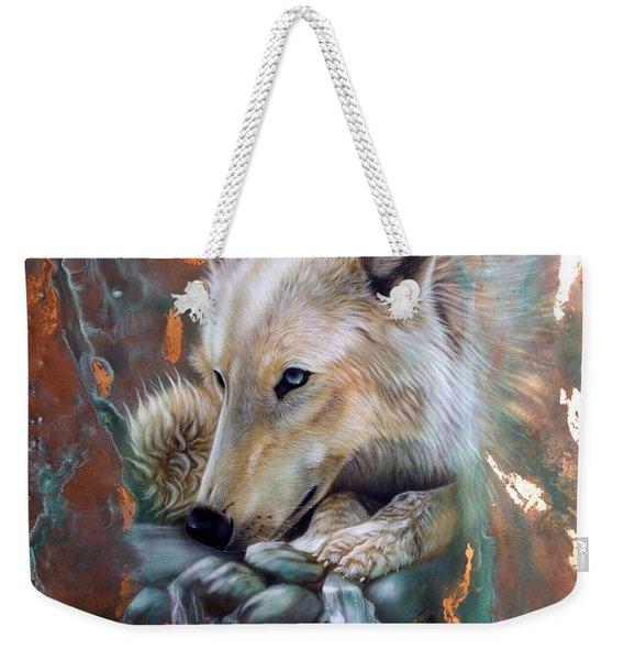 Copper Arctic Wolf Weekender Tote Bag