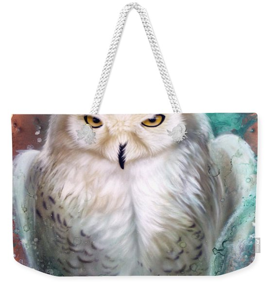 Weekender Tote Bag featuring the painting Copper Snowy Owl by Sandi Baker
