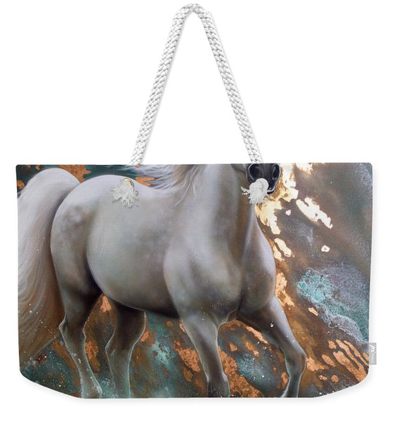 Weekender Tote Bag featuring the painting Copper Sundancer - Horse by Sandi Baker