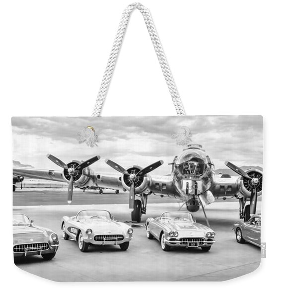 Corvettes And B17 Bomber -0027bw2 Weekender Tote Bag