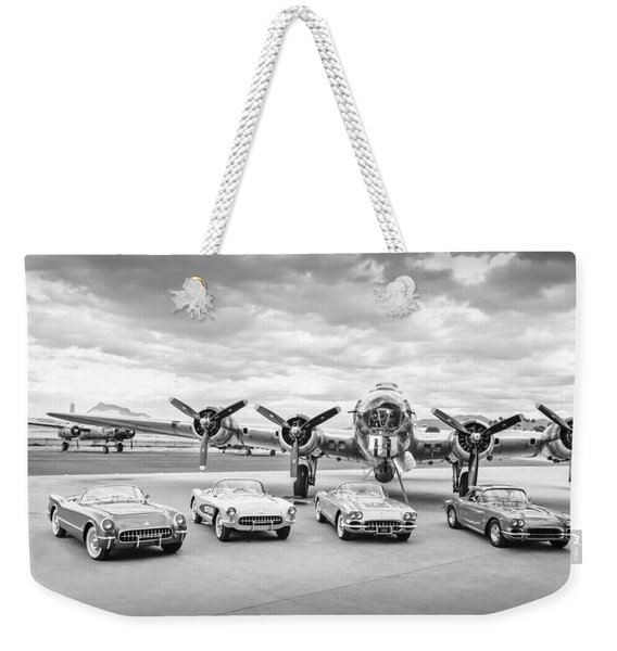 Corvettes And B17 Bomber -0027bw45 Weekender Tote Bag