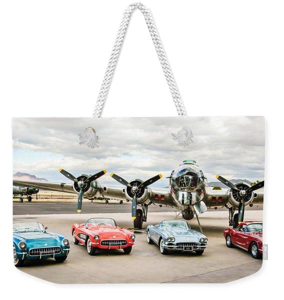 Corvettes And B17 Bomber -0027c23 Weekender Tote Bag