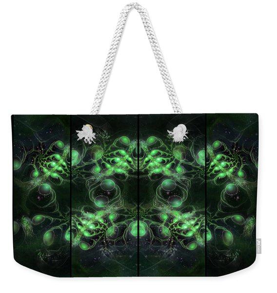 Cosmic Alien Eyes Green Weekender Tote Bag