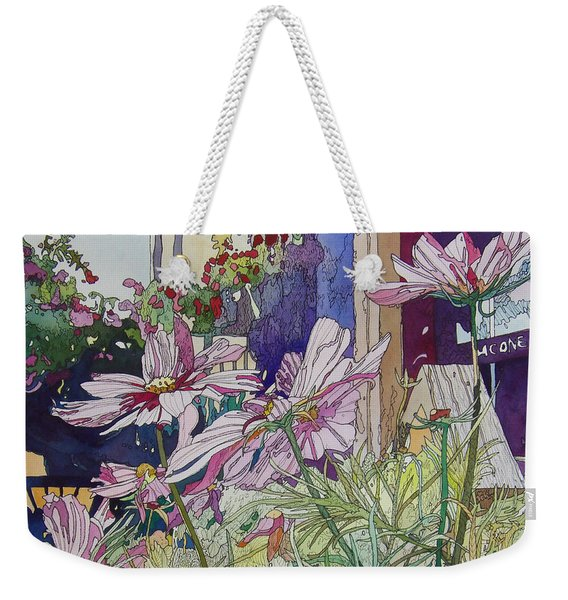 Cosmos At The Coffee Shoppe Weekender Tote Bag