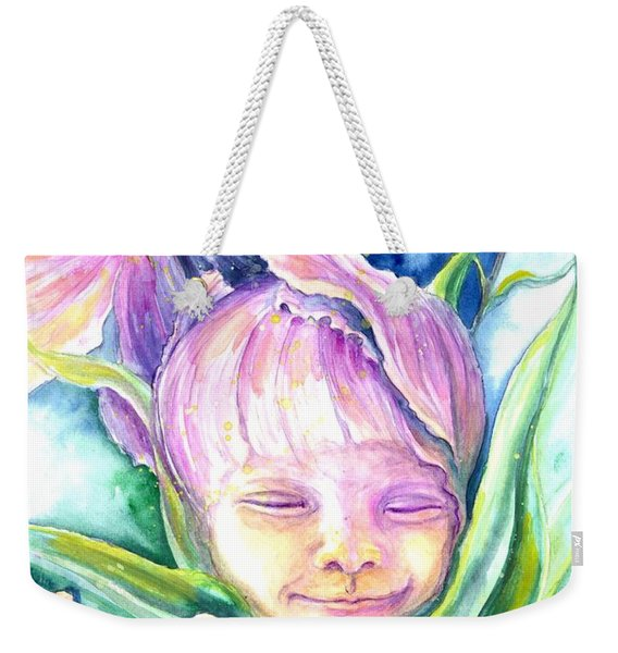 Weekender Tote Bag featuring the painting Cosmos Bud by Ashley Kujan