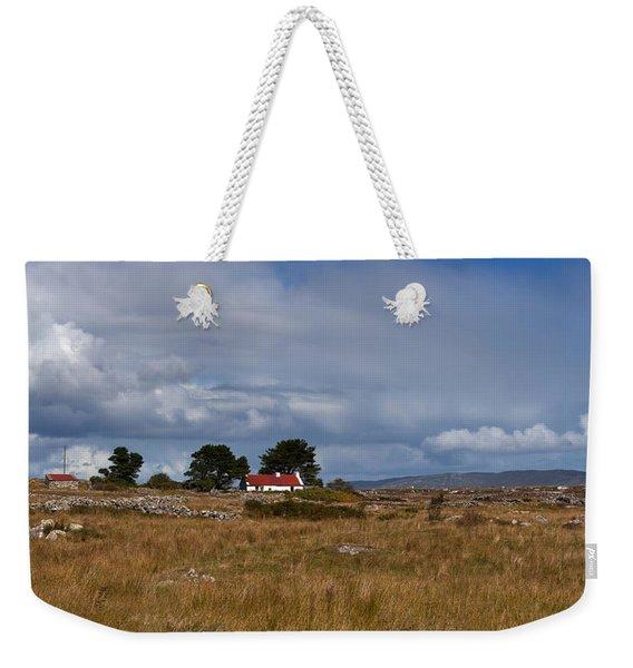 Cottage And Rocky Barren Landscape Weekender Tote Bag