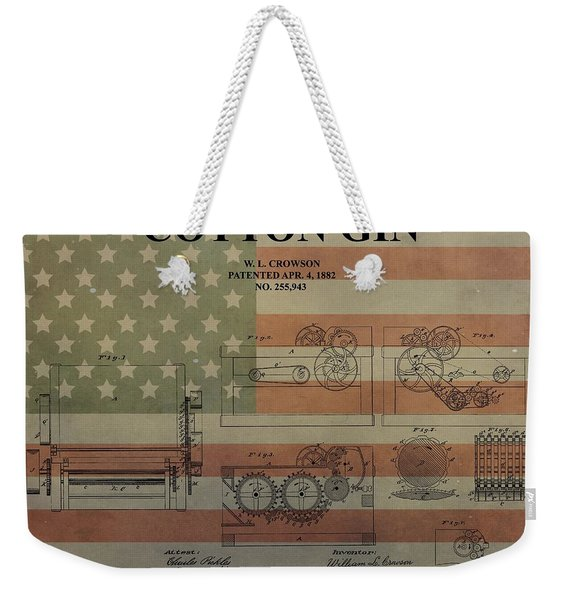Cotton Gin Patent Aged American Flag Weekender Tote Bag