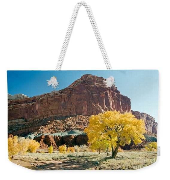 Cottonwoods In Fall The Castlecapitol Reef National Park Weekender Tote Bag
