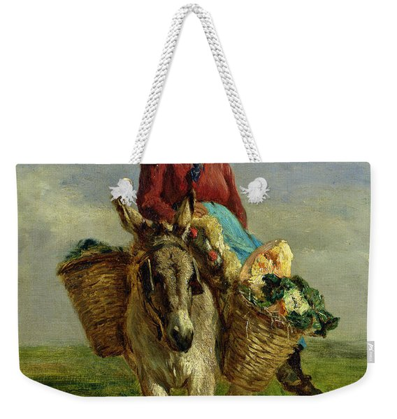 Country Woman Riding A Donkey Weekender Tote Bag