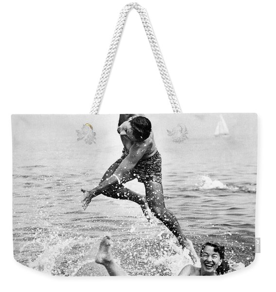 Couple Frolics In The Surf Weekender Tote Bag