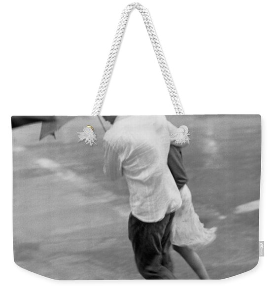 Couple In The Rain Weekender Tote Bag
