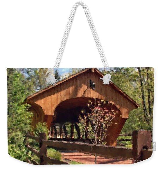 Covered Bridge At Olmsted Falls-spring Weekender Tote Bag