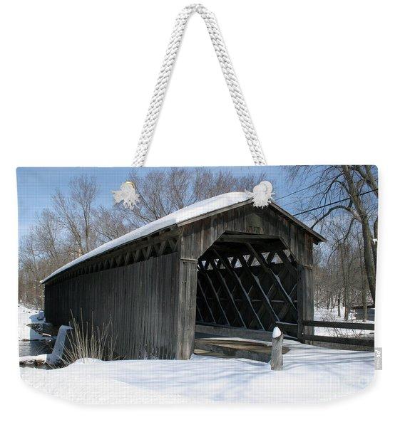 Covered Bridge In Winter Weekender Tote Bag