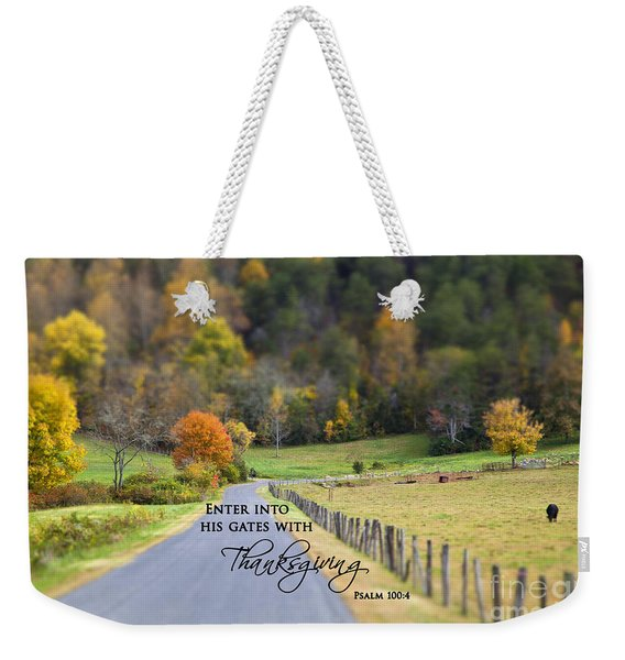 Cow Pasture With Scripture Weekender Tote Bag