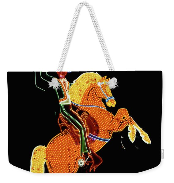 Cowboy And Horse Neon Sign Weekender Tote Bag