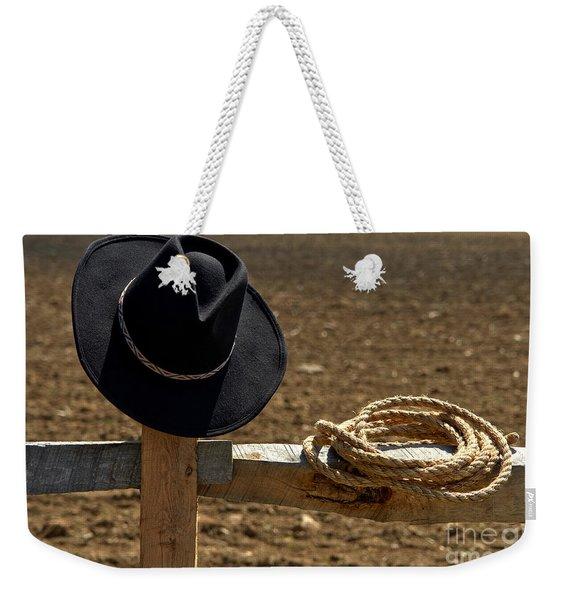 Cowboy Hat And Rope On Fence Weekender Tote Bag