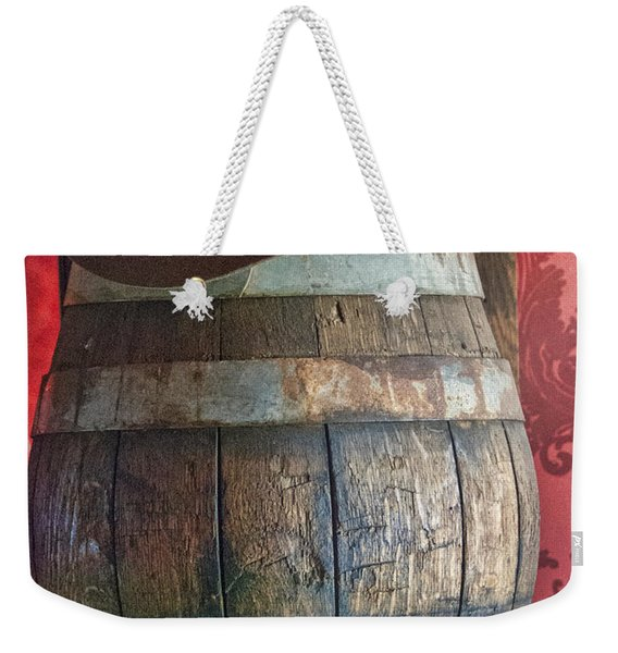 Cowboy Hat On Old Wooden Keg Weekender Tote Bag
