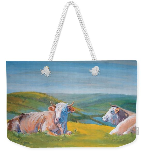 Cows Lying Down Painting Weekender Tote Bag