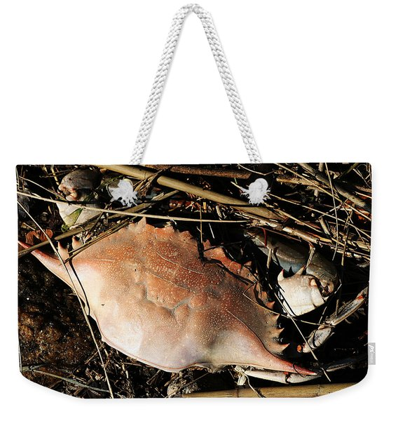 Weekender Tote Bag featuring the photograph Crab Shell by William Selander