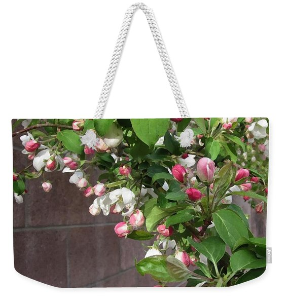 Crabapple Blossoms And Wall Weekender Tote Bag