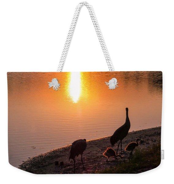 Cranes At Sunset Weekender Tote Bag