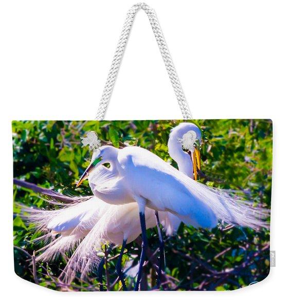 Criss-cross Egrets Weekender Tote Bag