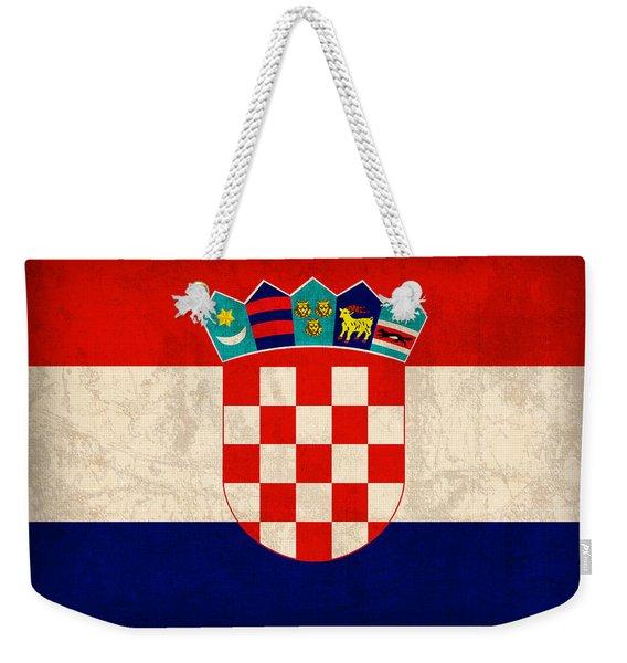 Croatia Flag Vintage Distressed Finish Weekender Tote Bag
