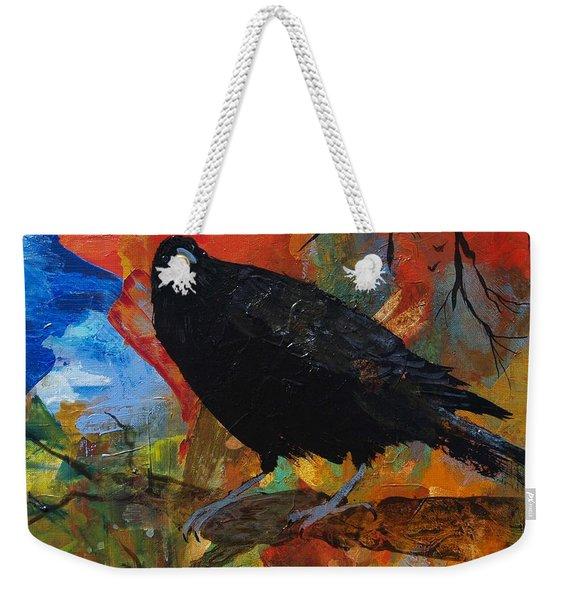 Crow On A Branch Weekender Tote Bag