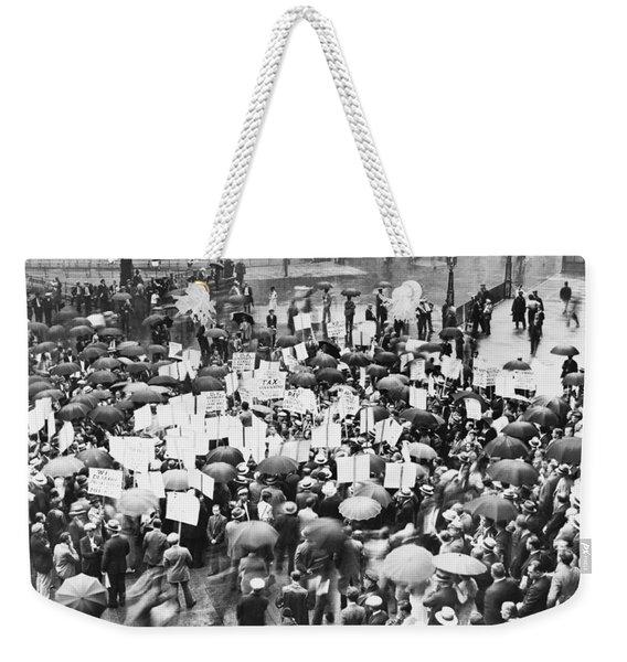Crowd Protests Bank Failure Weekender Tote Bag