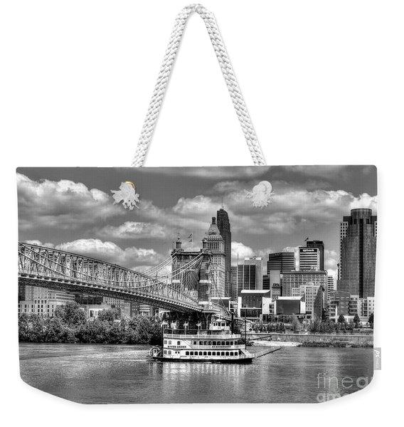 Cruising By Cincinnati 3 Bw Weekender Tote Bag