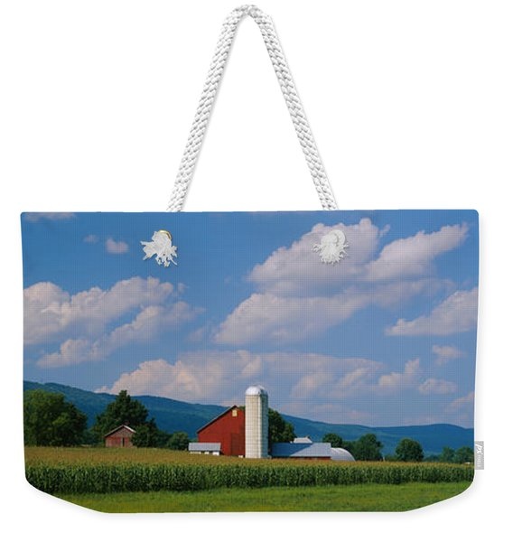 Cultivated Field In Front Of A Barn Weekender Tote Bag