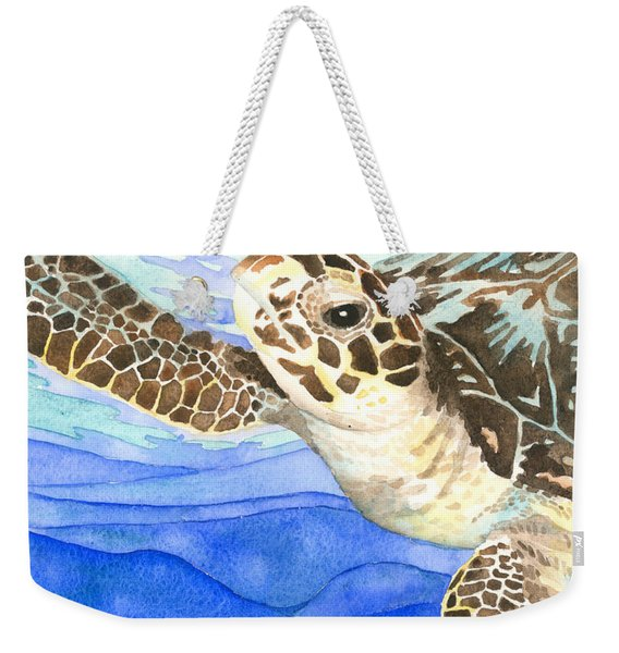 Curious Sea Turtle Weekender Tote Bag