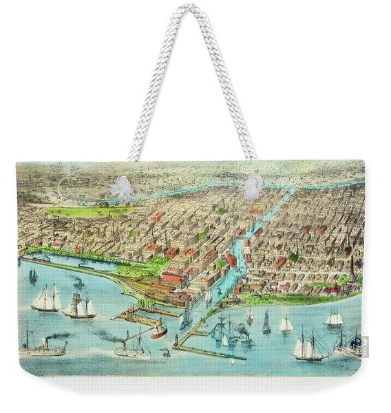 Currier & Ives Illustration Of Chicago Weekender Tote Bag