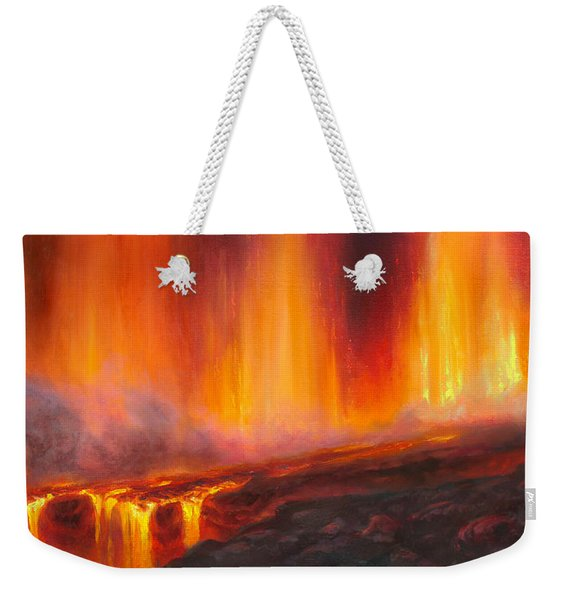 Erupting Kilauea Volcano On The Big Island Of Hawaii - Lava Curtain Weekender Tote Bag