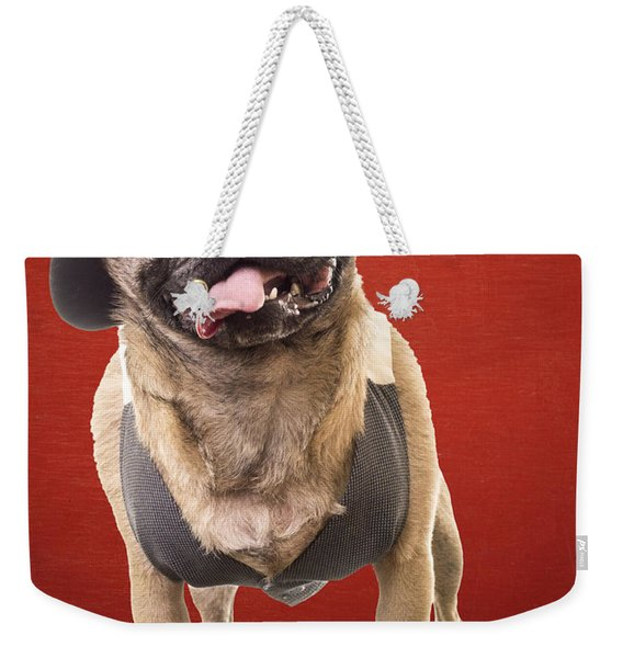 Cute Pug Dog In Vest And Top Hat Weekender Tote Bag