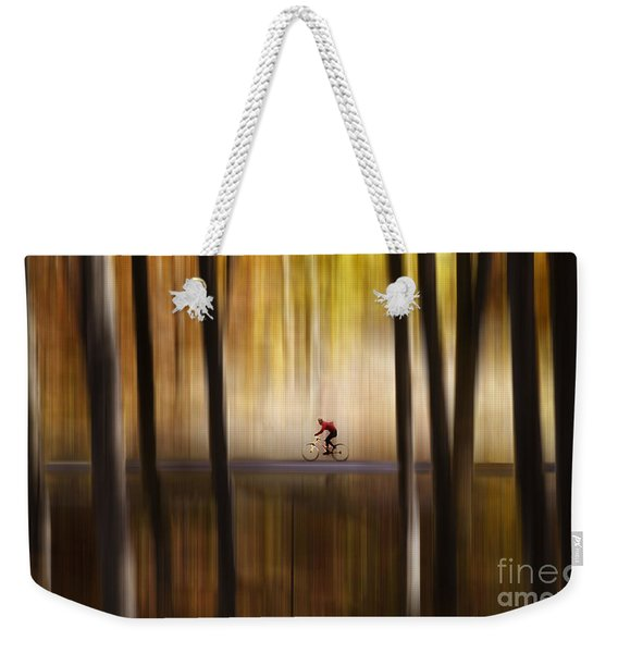 Cyclist In The Forest Weekender Tote Bag