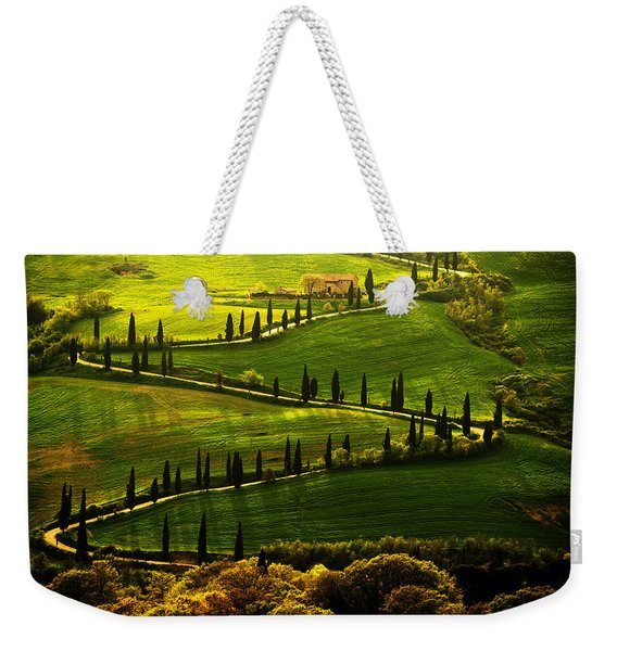 Weekender Tote Bag featuring the photograph Cypresses Alley by Jaroslaw Blaminsky