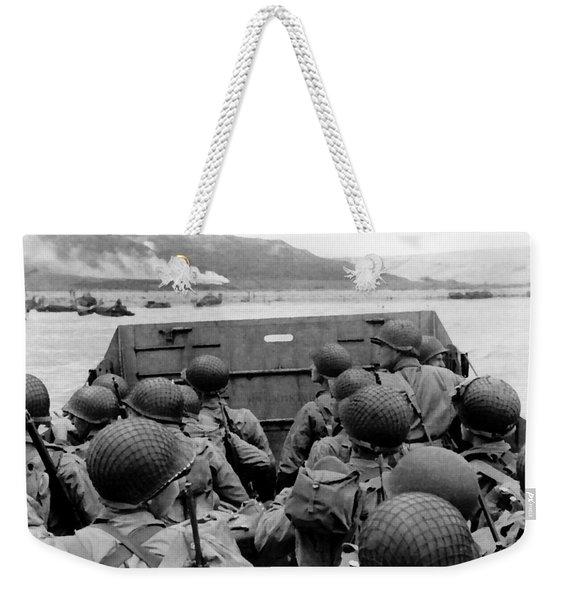 D-day Soldiers In A Higgins Boat  Weekender Tote Bag