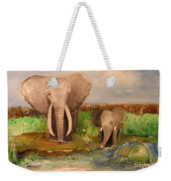 Weekender Tote Bag featuring the painting Daddy's Boy by Laurie Lundquist