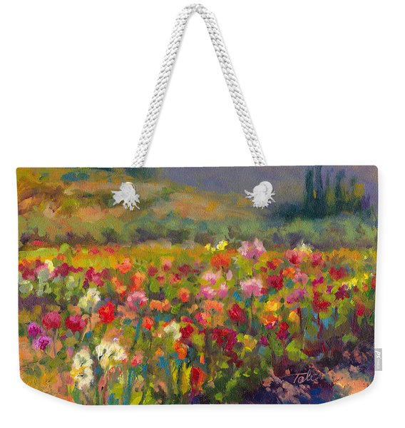 Weekender Tote Bag featuring the painting Dahlia Row by Talya Johnson