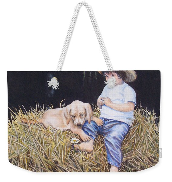 Weekender Tote Bag featuring the painting Daisy by Nancy Cupp