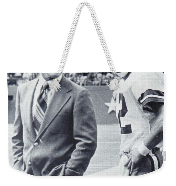Dallas Cowboys Coach Tom Landry And Quarterback #12 Roger Staubach Weekender Tote Bag