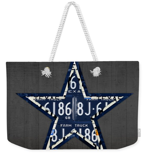 Dallas Cowboys Football Team Retro Logo Texas License Plate Art Weekender Tote Bag