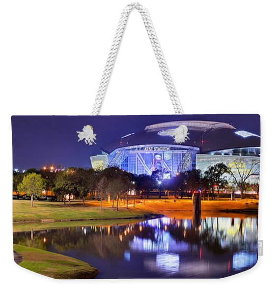 Dallas Cowboys Stadium At Night Att Arlington Texas Panoramic Photo Weekender Tote Bag