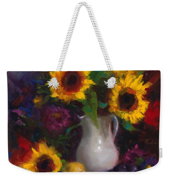 Weekender Tote Bag featuring the painting Dance With Me - Sunflower Still Life by Talya Johnson