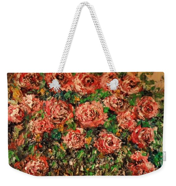 Weekender Tote Bag featuring the painting Dancing Red Roses by Laurie Lundquist