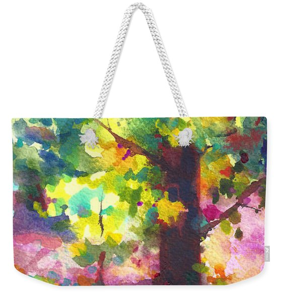 Weekender Tote Bag featuring the painting Dappled - Light Through Tree Canopy by Talya Johnson