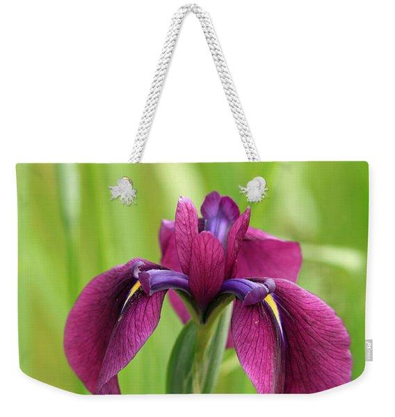 Dark Magenta Iris Weekender Tote Bag