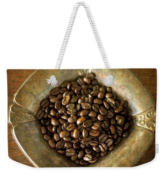 Dark Roast Coffee Beans And Antique Silver Weekender Tote Bag